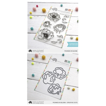 Mama Elephant Clear Stamp and Die mept639 Peonies in Bloom SET