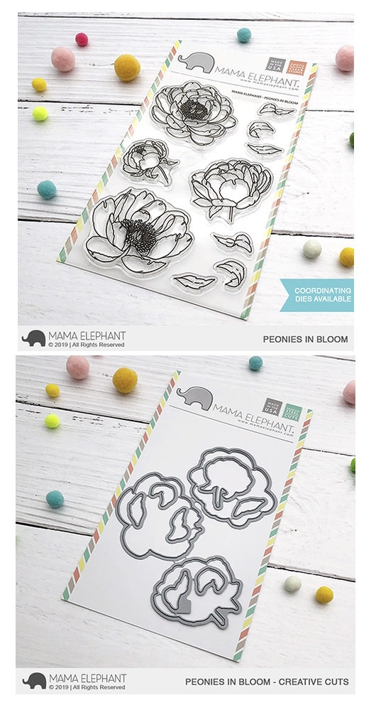 Mama Elephant Clear Stamp and Die mept639 Peonies in Bloom SET zoom image