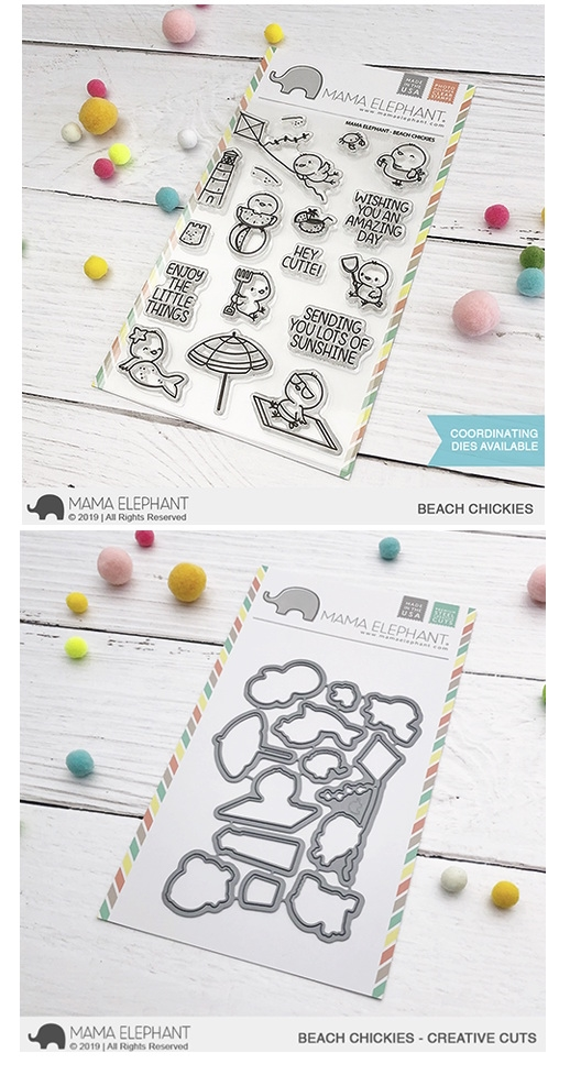 Mama Elephant Clear Stamp and Die mept642 Beach Chickies SET zoom image