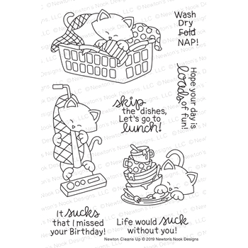 Newton's Nook Designs NEWTON CLEANS UP Clear Stamps NN1905S01