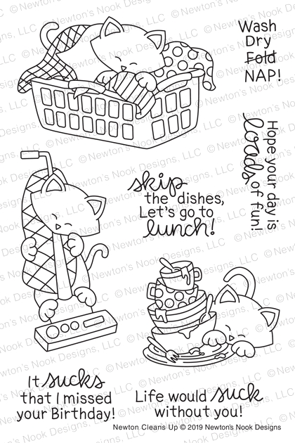 Newton's Nook Designs NEWTON CLEANS UP Clear Stamps NN1905S01 zoom image