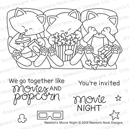 Newton's Nook Designs NEWTON'S MOVIE NIGHT Clear Stamps NN1905S02 zoom image