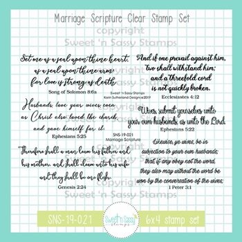 Sweet 'N Sassy MARRIAGE SCRIPTURE Clear Stamp Set sns-19-021