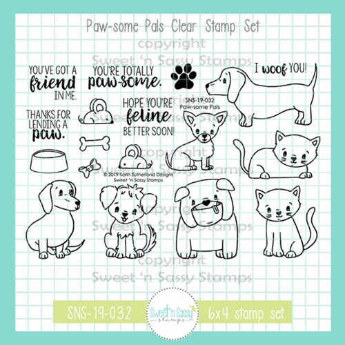 Sweet 'N Sassy PAWSOME PALS Clear Stamp Set sns-19-032 Preview Image