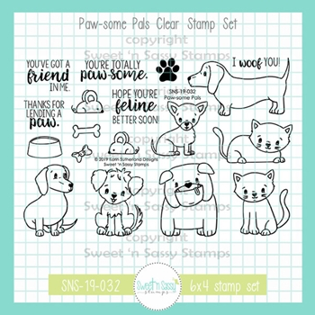 Sweet 'N Sassy PAWSOME PALS Clear Stamp Set sns-19-032