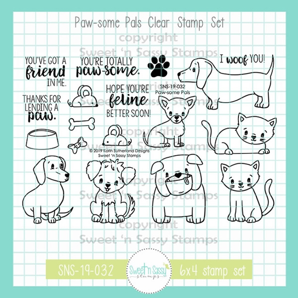 Sweet 'N Sassy PAWSOME PALS Clear Stamp Set sns-19-032 zoom image