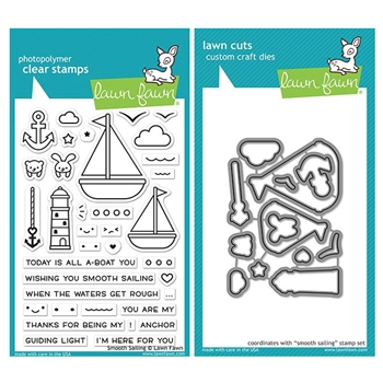 Lawn Fawn SET SMOOTH SAILING Clear Stamps and Dies ZLFSS