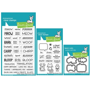 Lawn Fawn SET SAY WHAT PETS Clear Stamps and Dies ZLFSWP