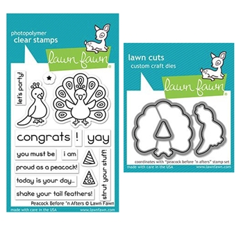 Lawn Fawn SET PEACOCK BEFORE 'N AFTERS Clear Stamps and Dies ZLFPBA