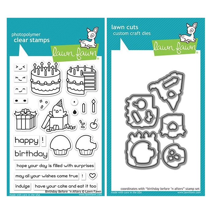 Lawn Fawn SET BIRTHDAY BEFORE 'N AFTERS Clear Stamps and Dies ZLFBBA zoom image