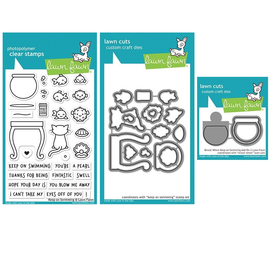 Lawn Fawn SET KEEP ON SWIMMING Clear Stamps and Dies ZLFKOS zoom image