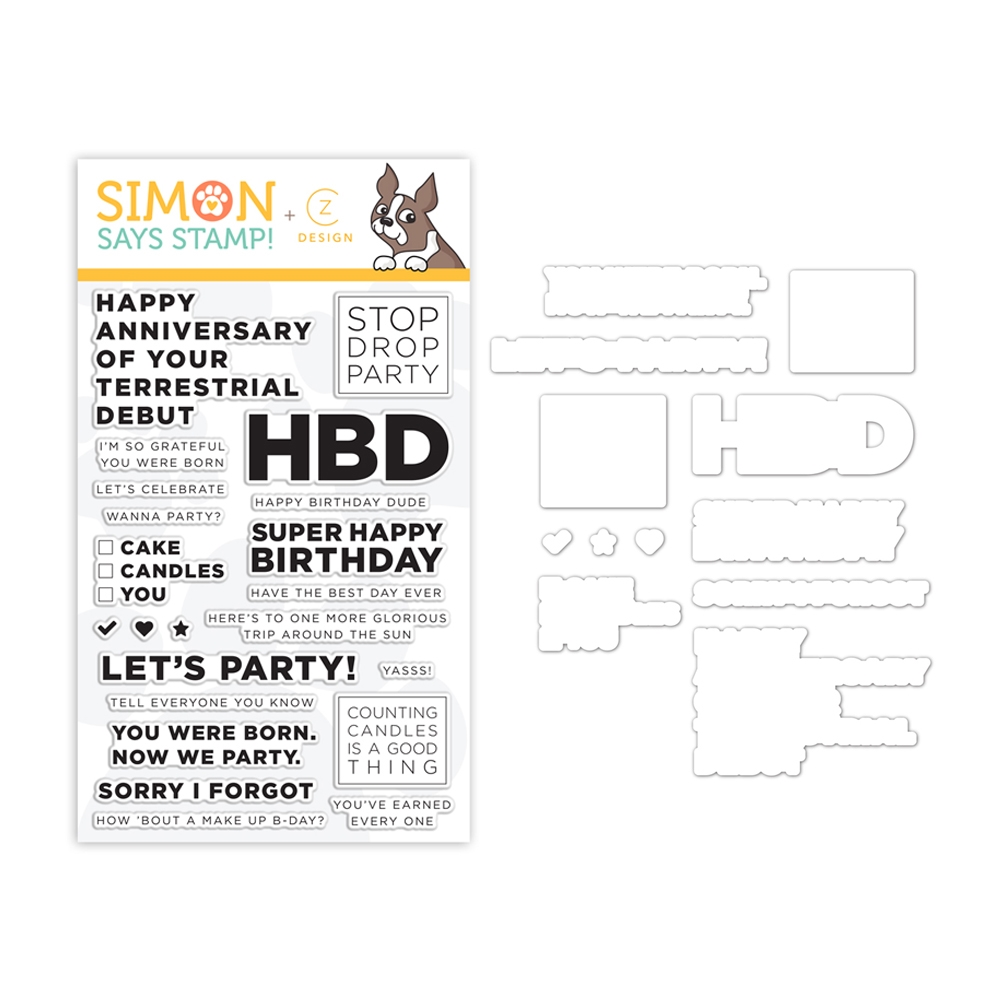 CZ Design Stamps and Dies STOP DROP PARTY set341sdp Celebrate You zoom image
