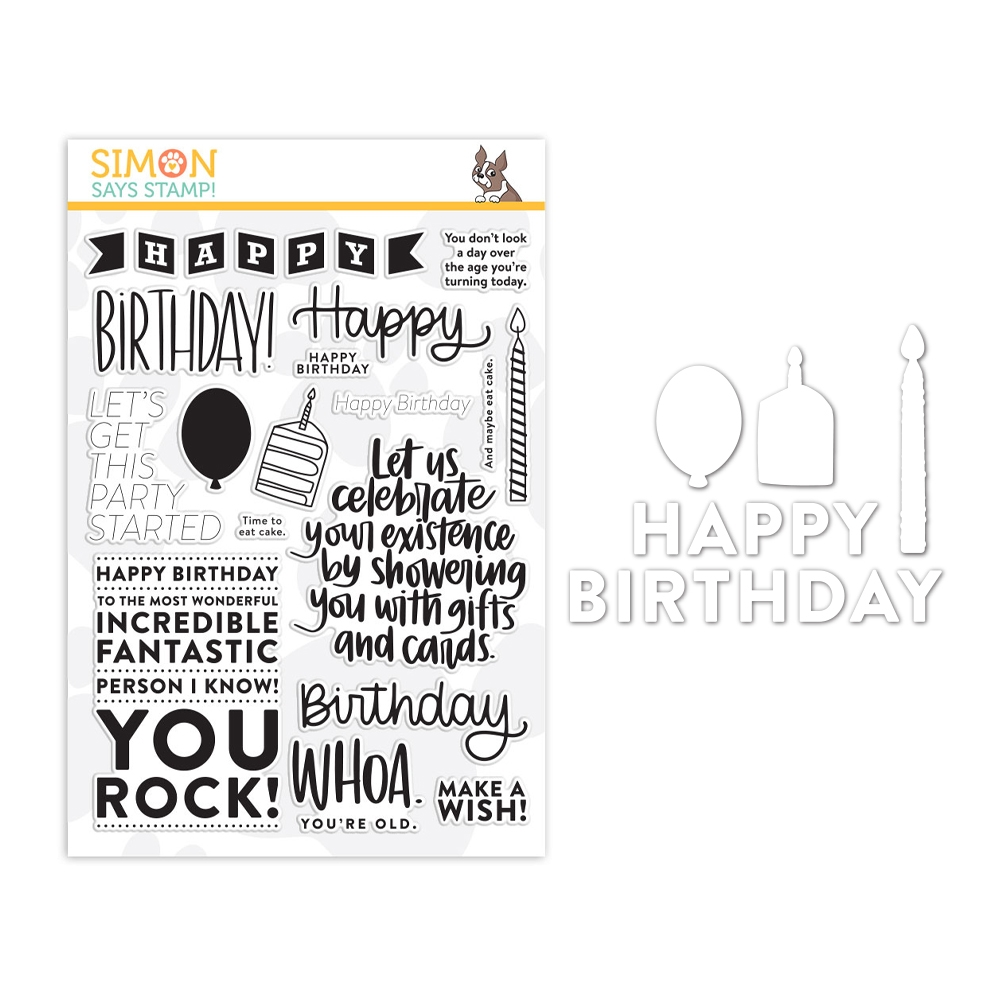 Simon Says Stamp Big Birthday Greetings Stamp and Die Set