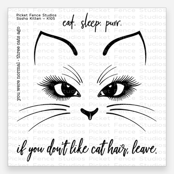 Picket Fence Studios SASHA KITTEN Clear Stamp Set k105