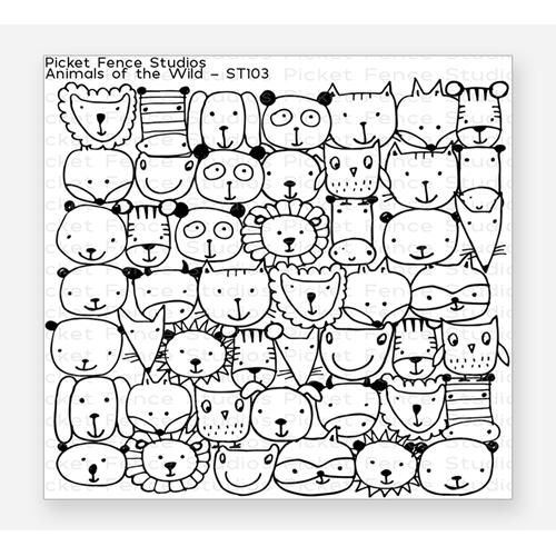 Picket Fence Studios ANIMALS OF THE WILD Clear Stamp st103 Preview Image