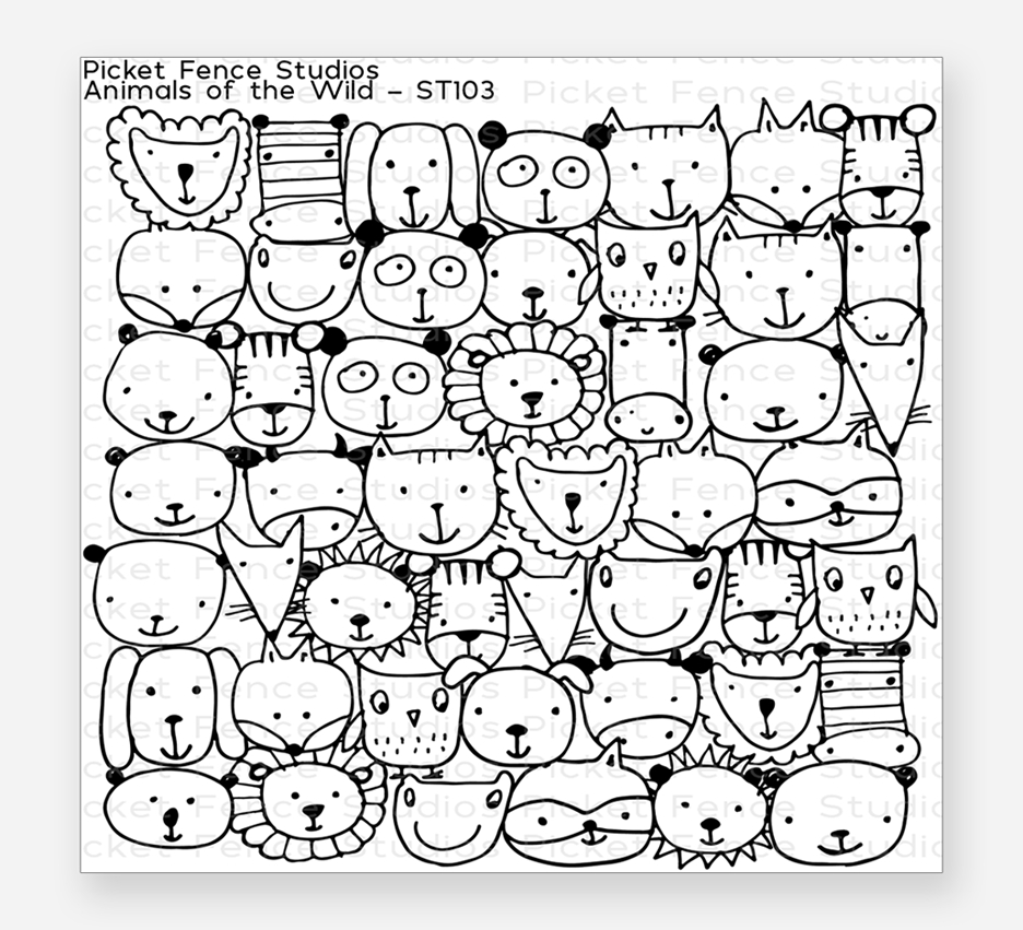 Picket Fence Studios ANIMALS OF THE WILD Clear Stamp st103 zoom image