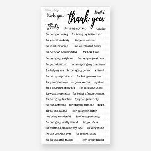 Clear Cling Stamp Prayers Thank You Sympathy Sentiments Set ST101 Picket Fence Neighborhood