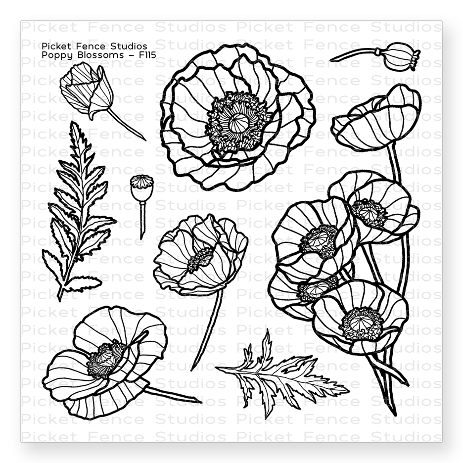 Picket Fence Studios POPPY BLOSSOMS Stamp Clear Stamp Set f115 zoom image