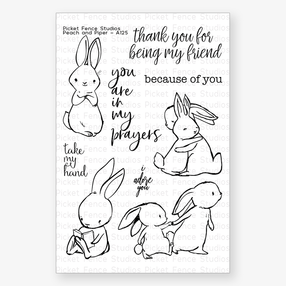 Picket Fence Studios PEACH AND PIPER Clear Stamp Set a125 zoom image