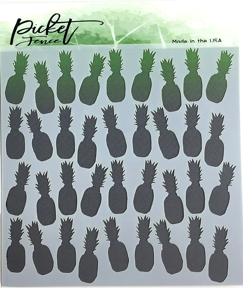 Picket Fence Studios PINEAPPLE COLLAGE Stencil sc117 zoom image