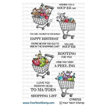 Your Next Stamp CRAZY FUN SHOPPING CARTS Clear cyns722*