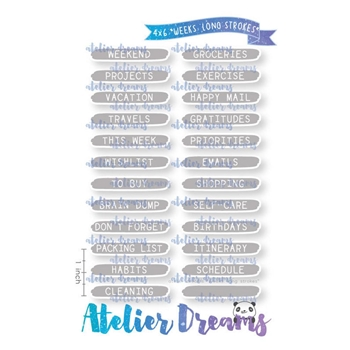 Atelier Dreams WEEKS LONG STROKES Clear Stamp Set ad095