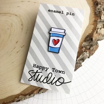 Happy Town Studio HEART COFFEE CUP Enamel Pin *