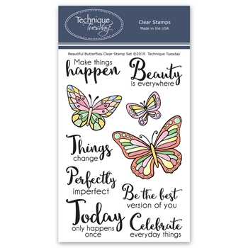 Technique Tuesday BEAUTIFUL BUTTERFLIES Clear Stamps 02780