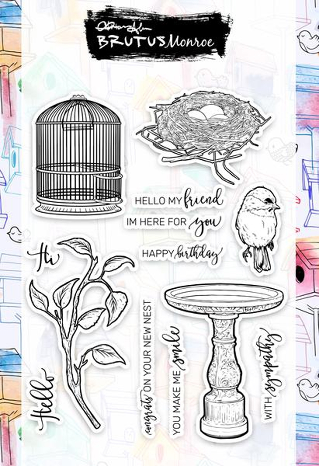 Brutus Monroe Clear Stamps FEATHERED FRIENDS bru3860 zoom image