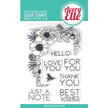 Avery Elle Clear Stamps FLORAL NOTES ST-19-15