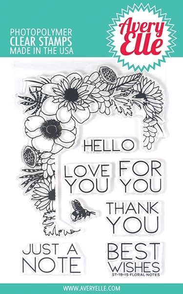 Avery Elle Floral Notes Clear Stamp Set