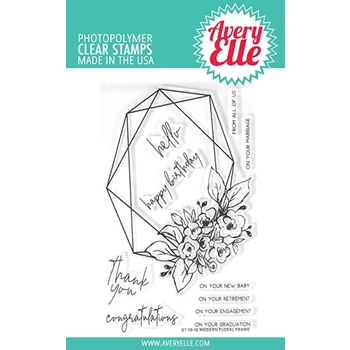 Avery Elle Clear Stamps MODERN FLORAL FRAME ST-19-16