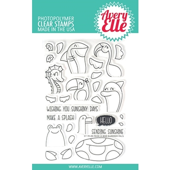 Avery Elle Clear Stamps PEEK A BOO SUMMER PALS ST-19-20