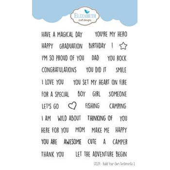 Elizabeth Craft Designs Clear Stamps BUILD YOUR OWN SENTIMENTS 1 cs139