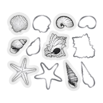 Crafter's Companion SEASHELLS Nautical Stamp And Die Set s-naut-mds-shell