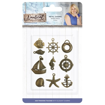 Crafter's Companion NAUTICAL Brass Metal Charm Set s-naut-char