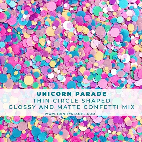 Trinity Stamps UNICORN PARADE GLOSSY AND MATTE CIRCLE CONFETTI MIX Embellishment Bag 887663 Preview Image
