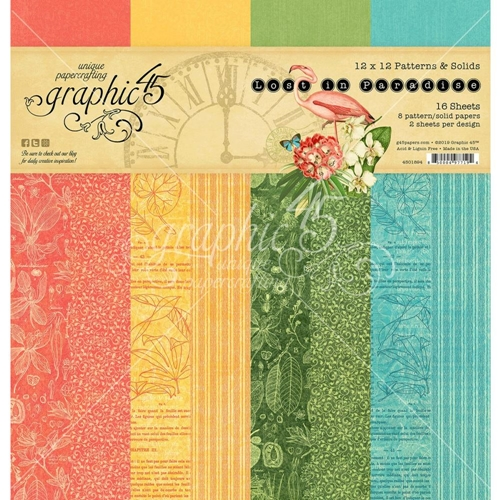 Graphic 45 LOST IN PARADISE 12 x 12 Patterns And Solids Paper Pad 4501894 Preview Image