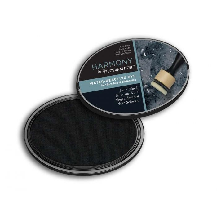 Crafter's Companion NOIR BLACK HARMONY WATER-REACTIVE Spectrum Dye Ink Pad sn-ip-hwr-nbla zoom image