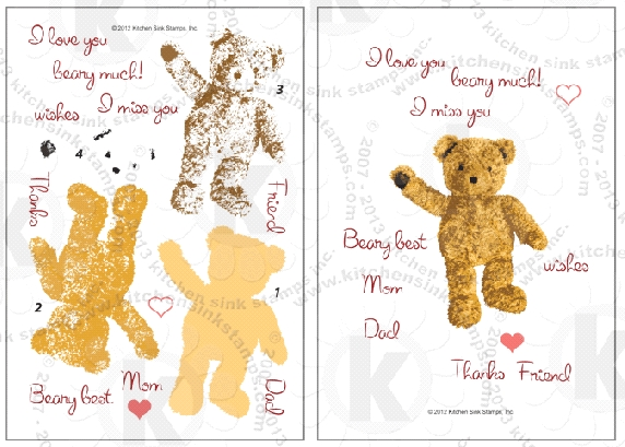 Kitchen Sink Stamps TEDDY BEAR WISHES kss008 zoom image