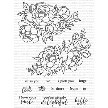 Clearly Besotted PICK A PEONY Clear Stamps CBSPI053