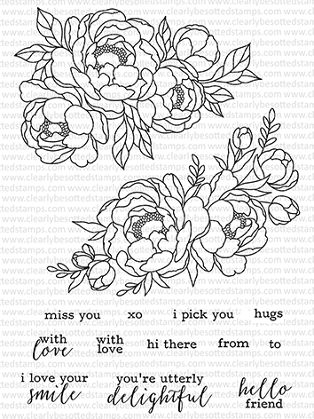 Clearly Besotted PICK A PEONY Clear Stamps CBSPI053 zoom image