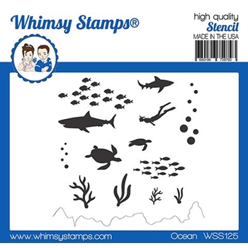 Whimsy Stamps OCEAN Stencil WSS125