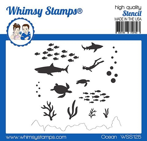Whimsy Stamps OCEAN Stencil WSS125 zoom image