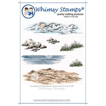 Whimsy Stamps CREATE A SCENE BEACH Rubber Cling Stamps DA1117