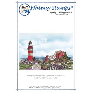 Whimsy Stamps BEACH LIGHTHOUSE Rubber Cling Stamps DA1116