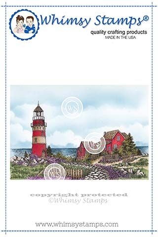 Whimsy Stamps BEACH LIGHTHOUSE Rubber Cling Stamps DA1116 zoom image