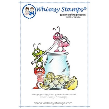 Whimsy Stamps ANTS DRINK UP Rubber Cling Stamp DP1015