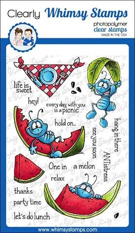 Whimsy Stamps ANTS AT PICNIC Clear Stamps DP1014 zoom image