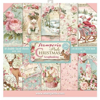 Stamperia PINK CHRISTMAS 12x12 Paper sbbl46